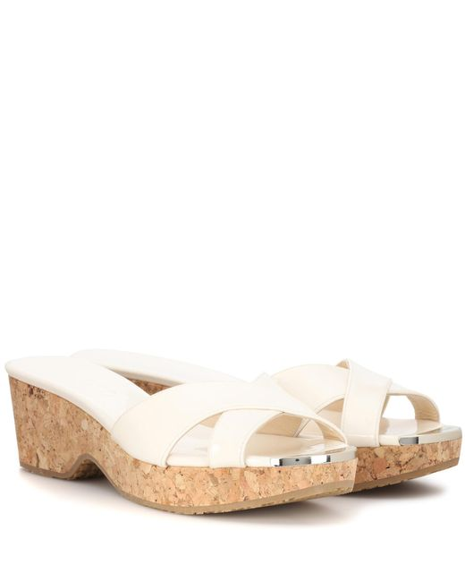 Jimmy Choo | White Panna Patent Leather Sandals | Lyst