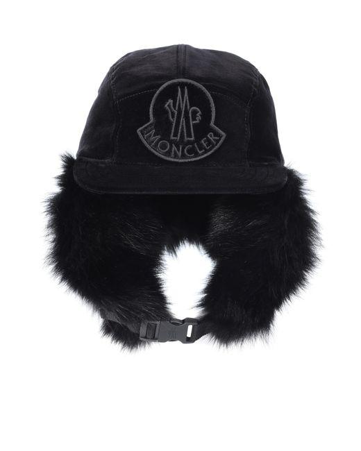 9f3fa01dc478 Lyst - Casquette en coton à fourrure Moncler en coloris Noir