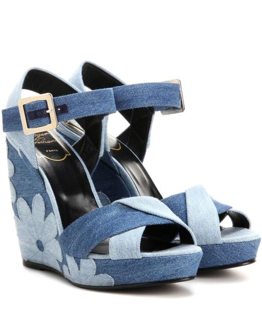 Roger Vivier - Blue Denim Patchwork Wedge Sandals - Lyst