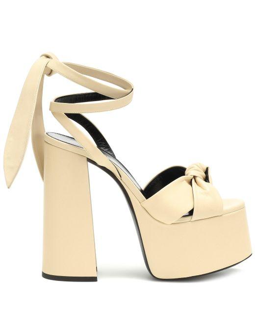 67d1402a55e ... Saint Laurent - Multicolor Paige 145 Plateau Leather Sandals - Lyst ...