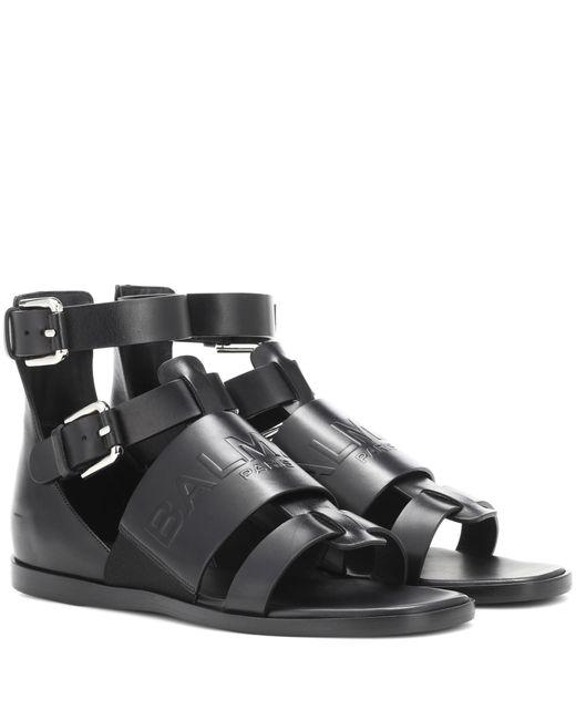 Balmain - Black Leather Sandals - Lyst