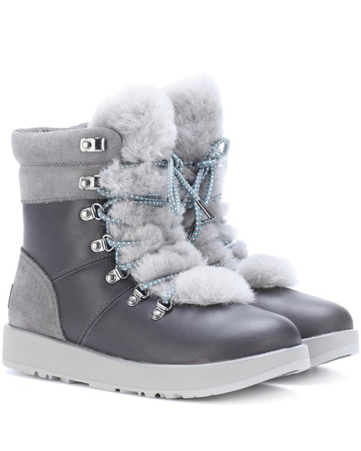 Ugg - Gray Viki Waterproof Leather Ankle Boots - Lyst