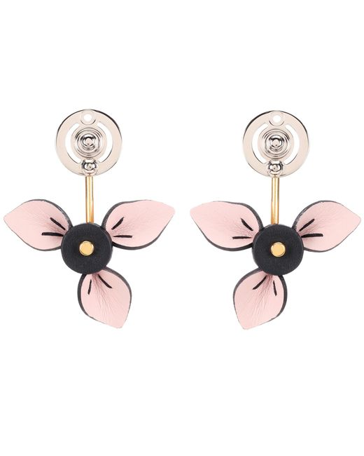Marni | Pink Floral Leather Earrings | Lyst