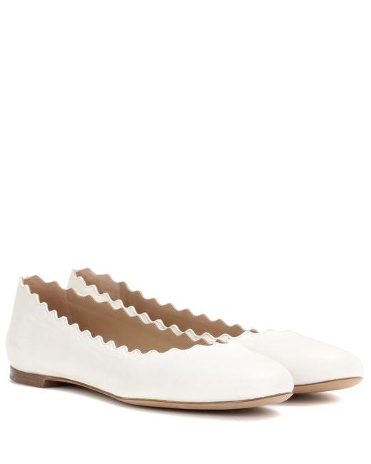 Chloé - White Lauren Leather Ballerinas - Lyst