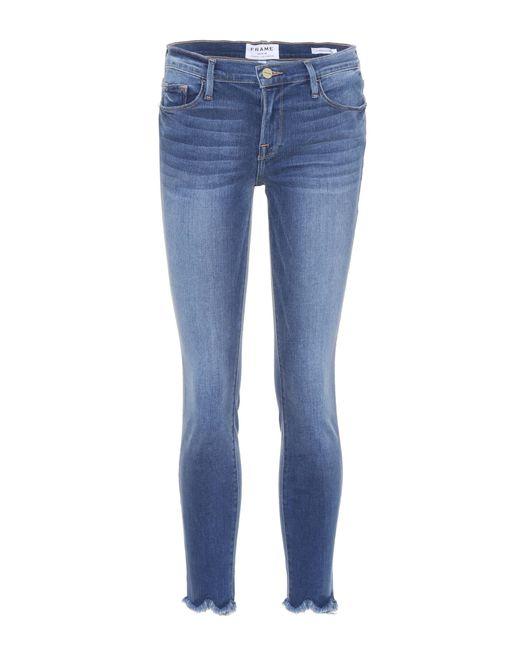 FRAME - Blue Le High Skinny Jagged Hem Jeans - Lyst
