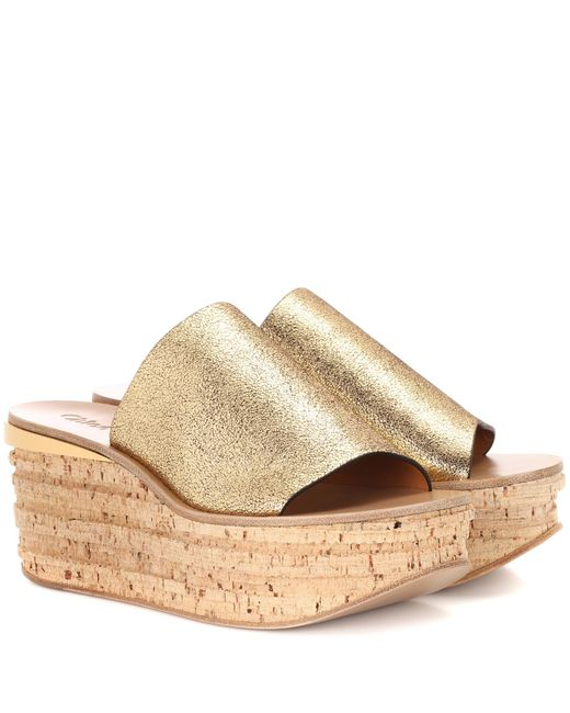 Chloé - Metallic Camille Cork And Leather Mule - Lyst
