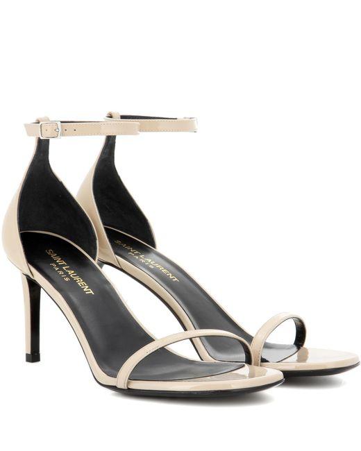 Saint Laurent | Natural Jane 80 Patent Leather Sandals | Lyst