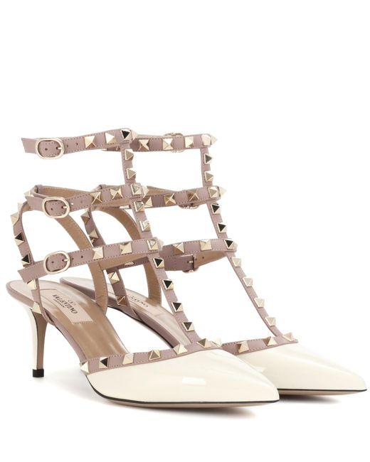 Valentino | White Rockstud Patent Leather Kitten-heel Pumps | Lyst