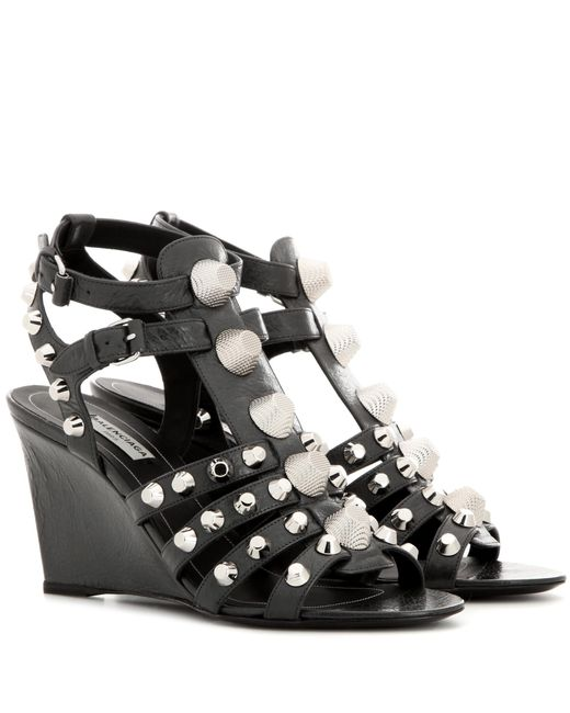 Balenciaga | Gray Arena Leather Wedge Sandals | Lyst