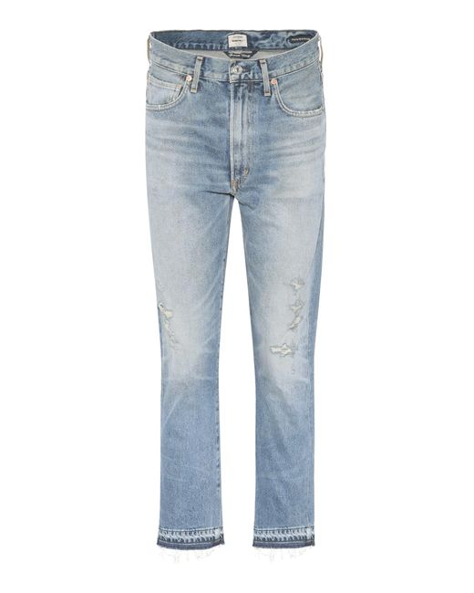 Citizens of Humanity - Blue Dree High-waisted Cropped Cotton Jeans - Lyst