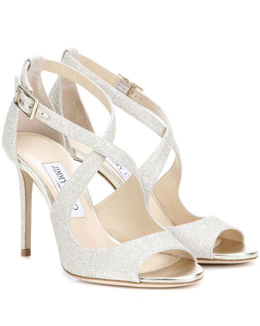 Jimmy Choo | Metallic Emily 100 Glitter Sandals | Lyst