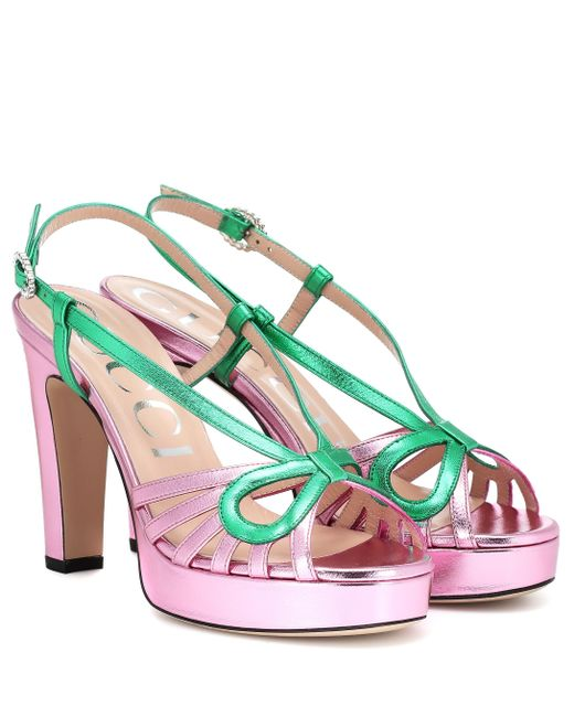 b671c110f3e Gucci - Multicolor Metallic Leather Sandals - Lyst ...