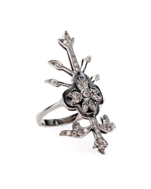 Roberto Marroni | Metallic 18kt White Oxidized Gold Macrame Ring With Brown Diamonds | Lyst