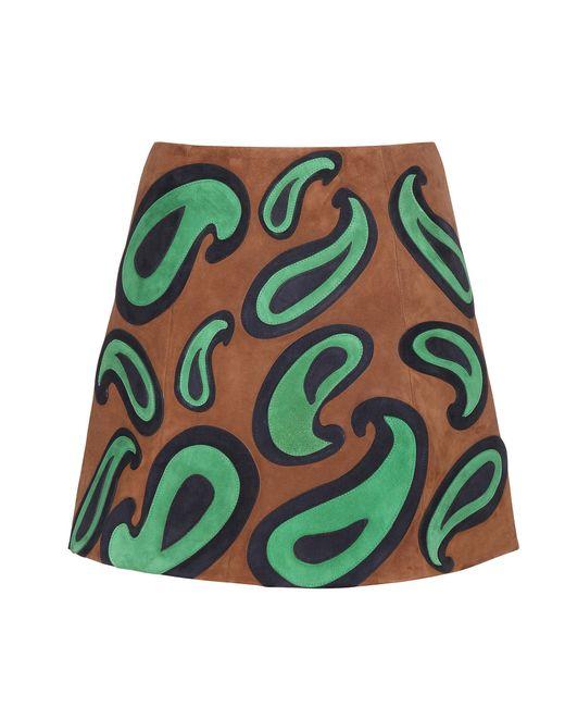 Miu Miu | Green Embellished Suede Miniskirt | Lyst