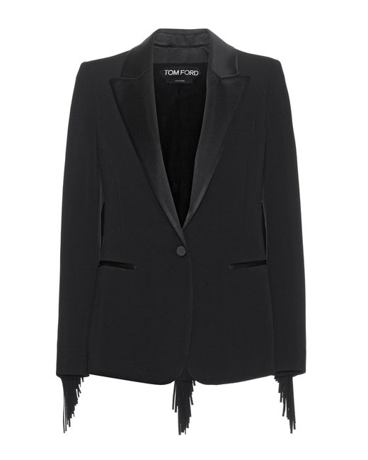 Tom Ford | Black Fringed Stretch -crepe Tuxedo Jacket | Lyst