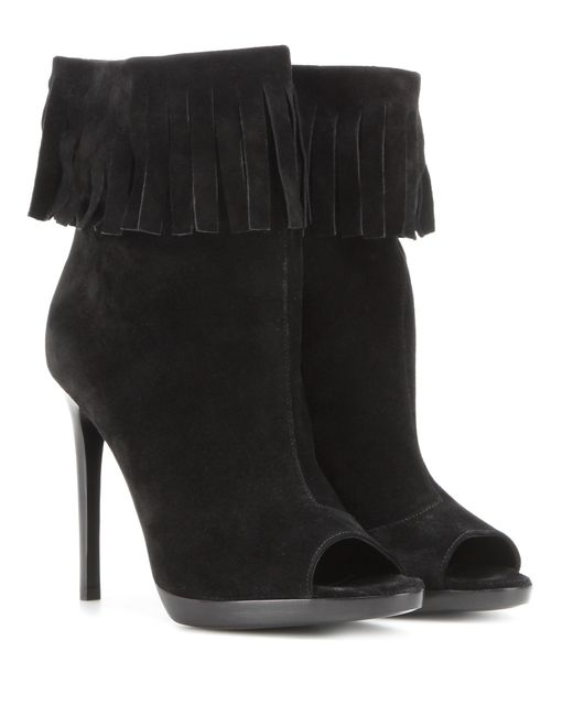 Burberry | Black Pelling Suede Ankle Boots | Lyst