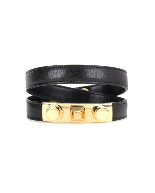 Saint Laurent | Black Studded Leather Bracelet | Lyst