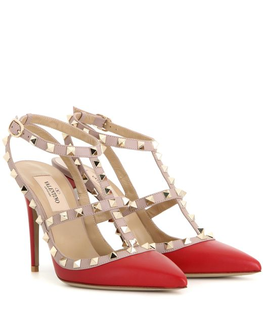Valentino | Red Rockstud Leather Slingbacks T.100 | Lyst