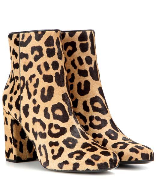 Saint laurent Leopard-print Babies Ankle Boots in Natural ...