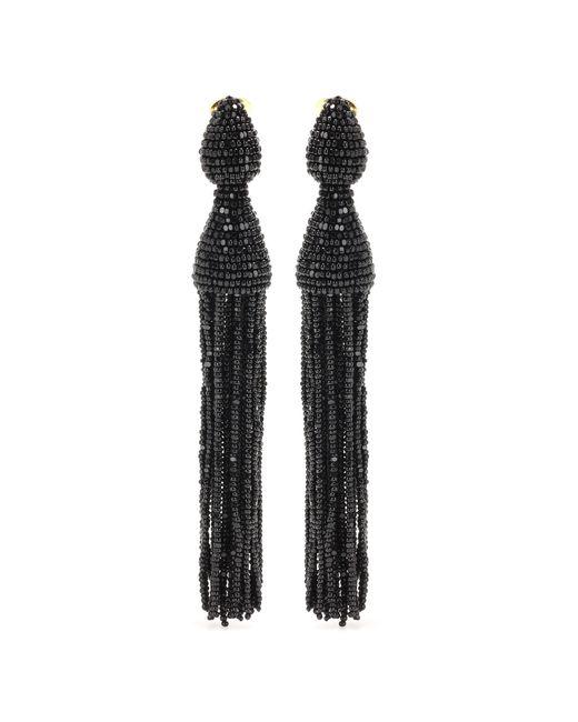 Oscar de la Renta | Black Beaded Tassel Earrings | Lyst