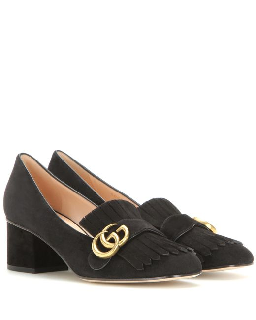 Gucci | Black Suede Loafer Pumps | Lyst