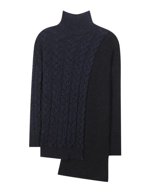 Stella McCartney   Blue Asymmetric Wool-Blend Turtleneck Sweater   Lyst