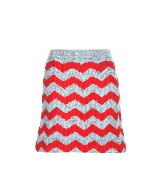 Miu Miu | Red Knitted Virgin Wool And Alpaca-blend Miniskirt | Lyst