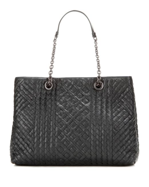 Bottega Veneta | Black Intrecciato Leather Tote | Lyst
