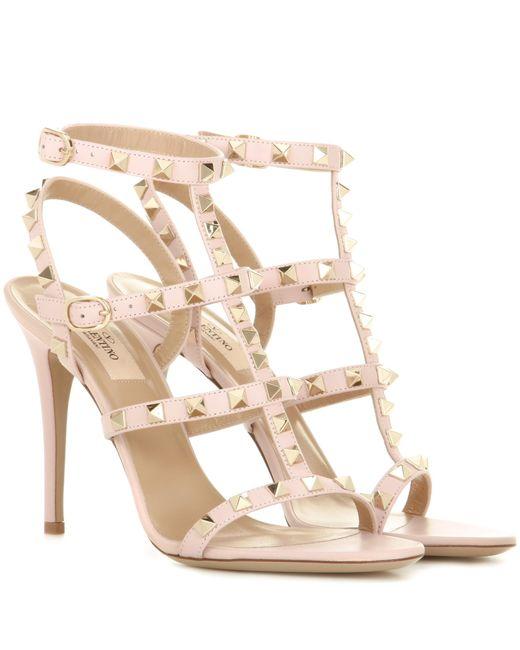 Valentino | Pink Garavani Rockstud Leather Sandals | Lyst