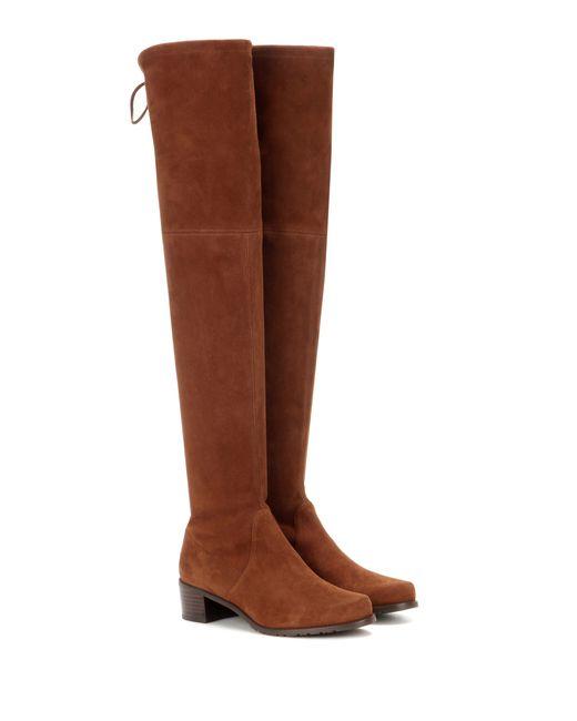 Stuart Weitzman | Black 'midland' Stretch Suede Thigh High Boots | Lyst
