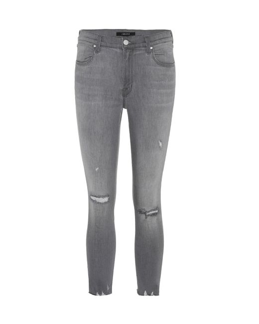 J Brand | Gray Alana High-rise Cropped Jeans | Lyst