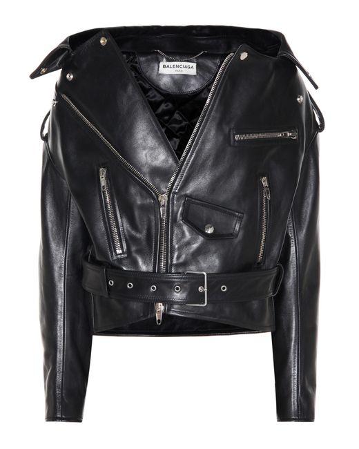 defbbfbe0238e Lyst - Balenciaga Leather Biker Jacket in Black