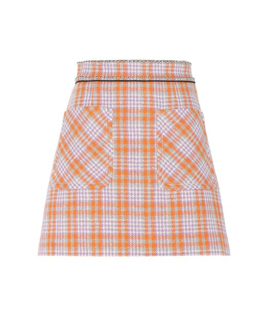 Miu Miu | Multicolor Embellished Wool-blend Skirt | Lyst