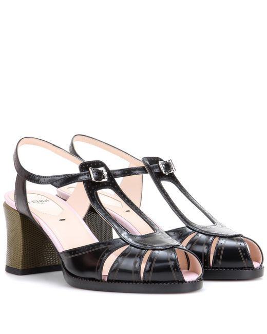 Fendi | Black Leather Sandals | Lyst