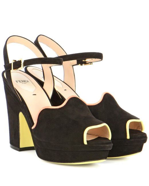 Fendi | Black Suede Platform Sandals | Lyst