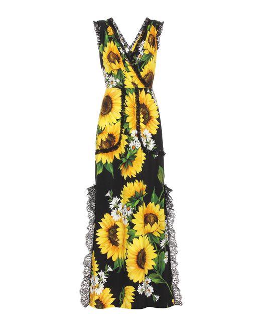 Dolce & Gabbana | Yellow Sleeveless Floral-printed Dress | Lyst