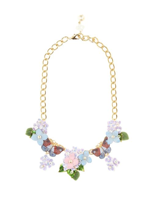 Dolce & Gabbana | Multicolor Crystal And Leather-embellished Floral Necklace | Lyst