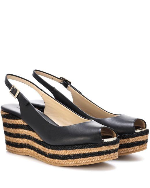 Jimmy Choo | Black Praise Leather Wedge Sandals | Lyst