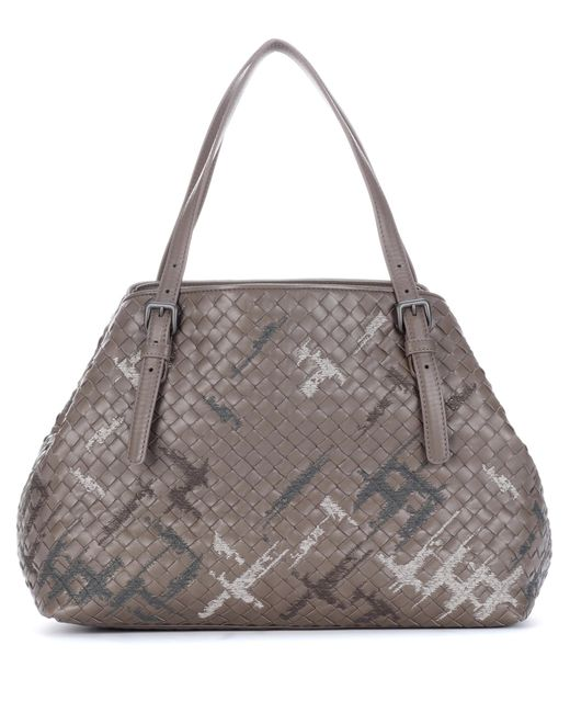 Bottega Veneta | Gray Intrecciato Leather Shopper | Lyst