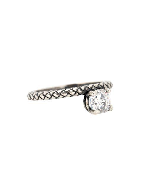Bottega Veneta | Metallic Cubic Zirconia-embellished Silver Ring | Lyst