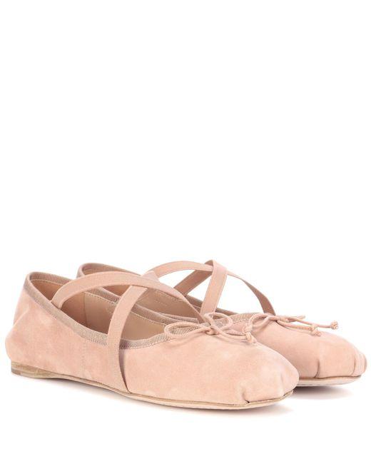 Miu Miu | Pink Suede Ballerinas | Lyst