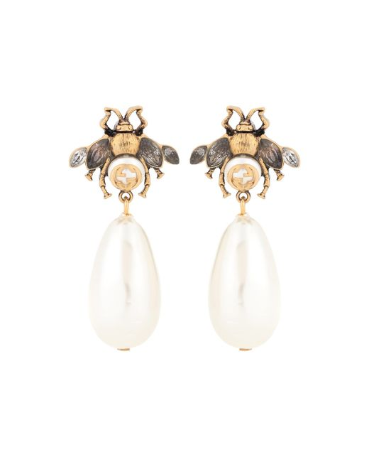 Gucci | White Brass And Crystal Earrings | Lyst