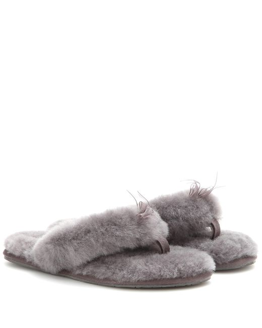 Ugg   Gray Fluff Shearling Flip Flops   Lyst
