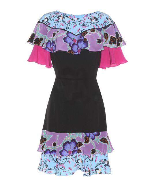 Etro | Black Ruffled Silk Dress | Lyst