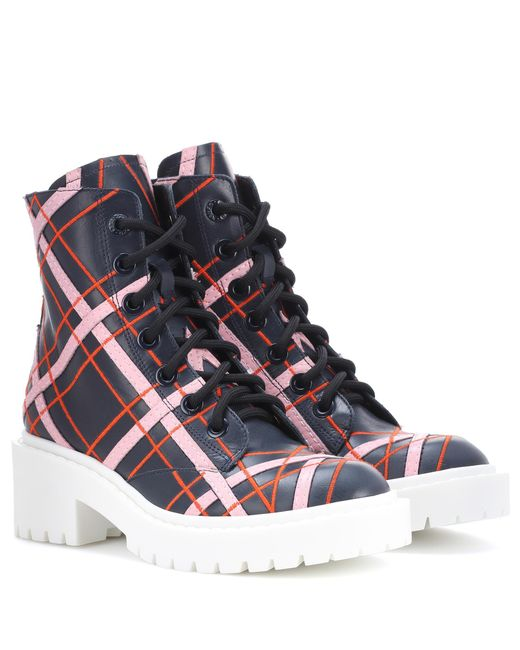 KENZO - Blue Plaid Leather Ankle Boots - Lyst