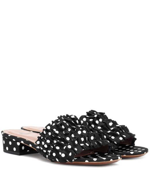 AlexaChung - Black Polka-dot Ruffle Slippers - Lyst