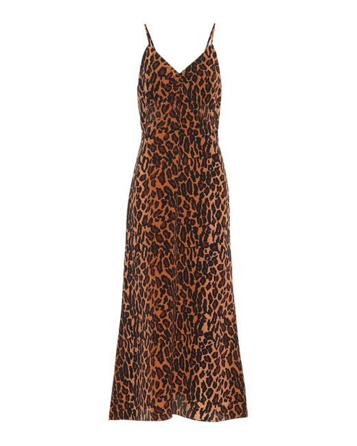 fe166121aa Lyst - Miu Miu Leo Printed Silk Slip Dress in Brown - Save ...
