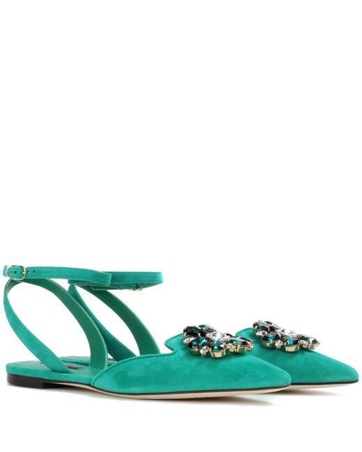 Dolce & Gabbana | Green Bellucci Embellished Suede Flat | Lyst