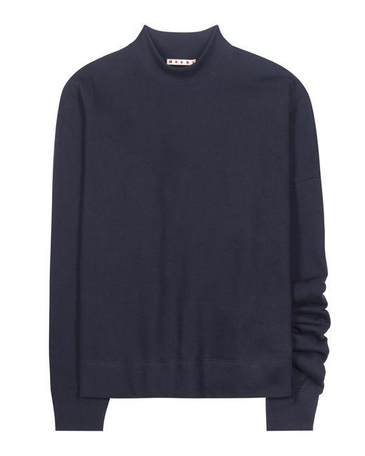 Marni | Blue Asymmetrical Cotton Sweatshirt | Lyst
