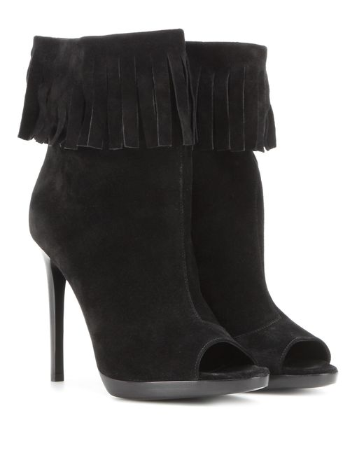 Burberry - Black Pelling Suede Ankle Boots - Lyst